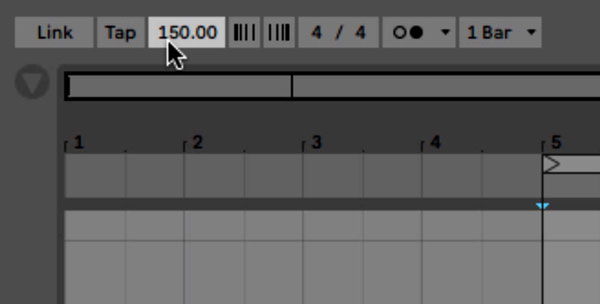 An image demonstrating how to set Ableton's project tempo to 150 BPM.