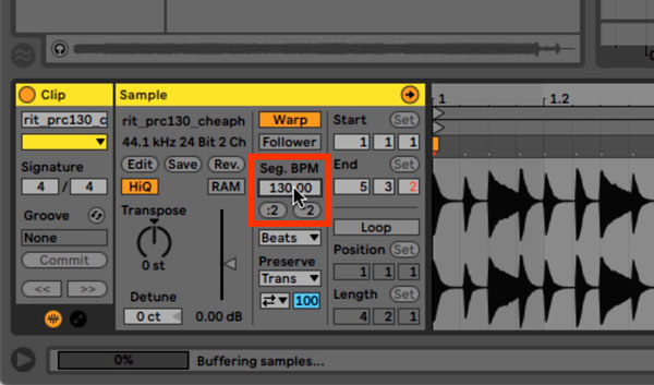 An image of the Segment BPM value found within Ableton's Clip view.