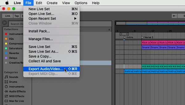 An image of the Export Audio/Video... option in Ableton.