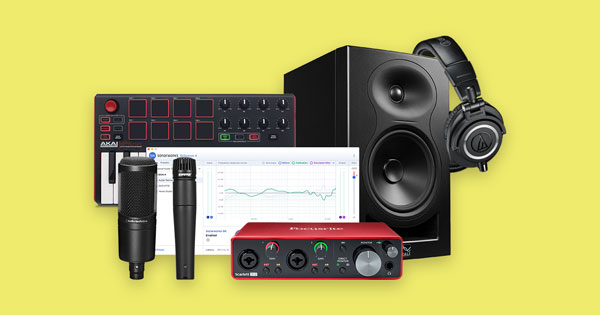 A variety of music production gear for beginners.