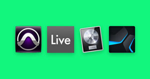 An image of the Pro Tools, Ableton Live, Logic Pro, and Studio One icons.