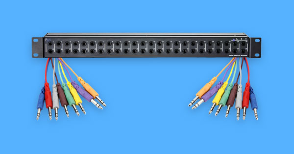 A patch bay and patch cables.
