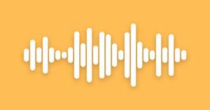A white audio signal waveform on a bright orange background.
