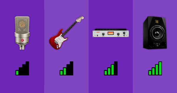 Left to right: a microphone, electric guitar, hardware compressor, and speaker indicating increasing signal strength.