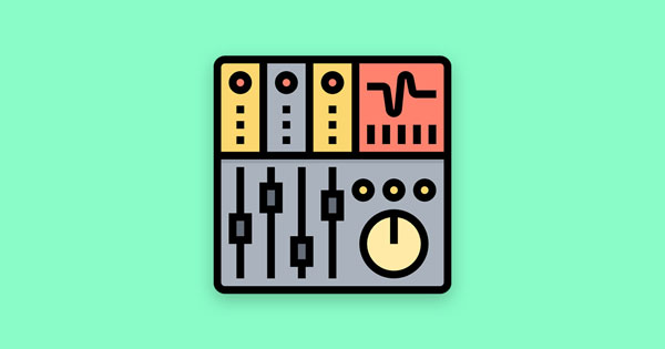 A mixing console icon on a mint green background.