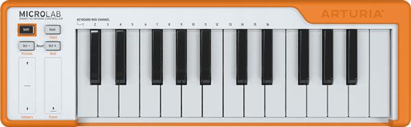 An image of the MicroLab MIDI keyboard.