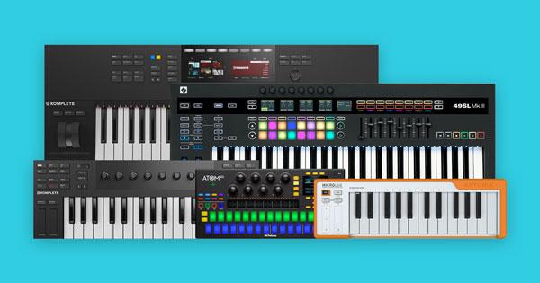 An assortment of MIDI keyboards.