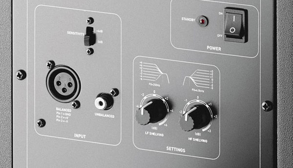 An image of the shelving controls on the rear of Focal's Alpha 65.