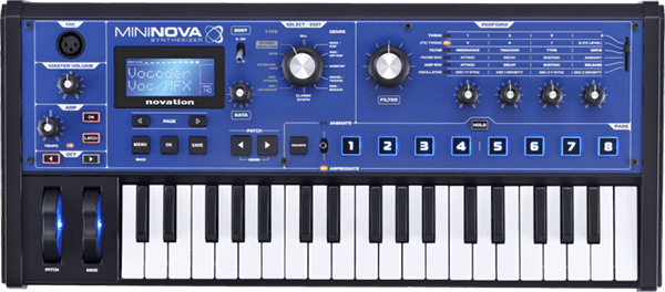 An image of Novation's MiniNova Synthesizer with Vocoder.