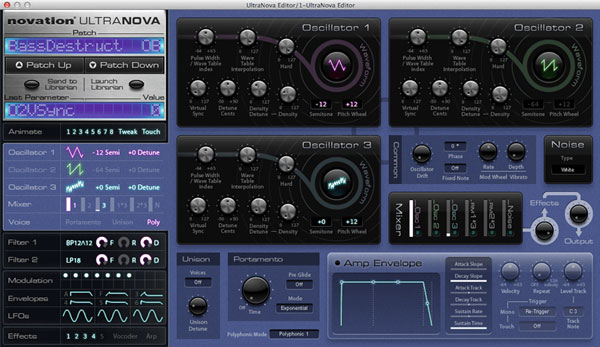 An image of Novation's UltraNova Editor.