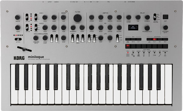 An image of the Korg Minilogue 4-Voice Analog Synthesizer.