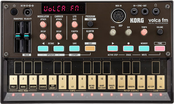 An image of the Korg Volca FM Synthesizer with Sequencer.
