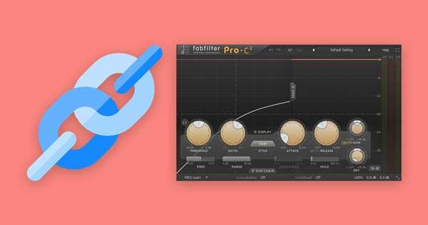 A chain icon beside FabFilter's Pro-C 2 compressor plugin.