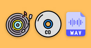 A vinyl icon, CD icon, and digital WAV file icon.