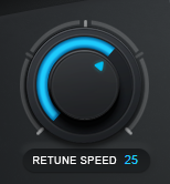 An image of Auto-Tune Pro's Retune Speed knob set to a value of 25.