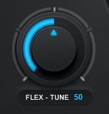 An image of Auto-Tune Pro's Flex-Tune knob set to a value of 50.