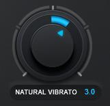 An image of Auto-Tune Pro's Natural Vibrato knob set to a value of 3.0.
