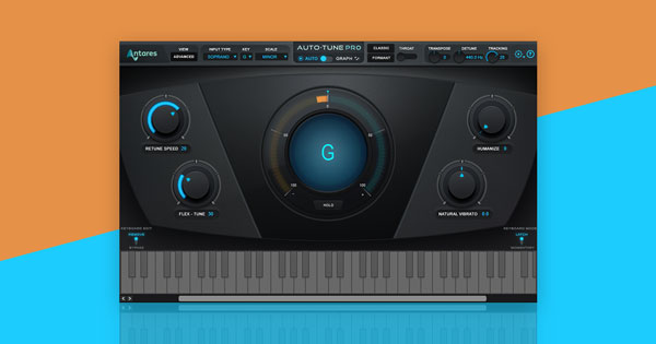 Auto-Tune Pro's user interface on an orange and blue background.