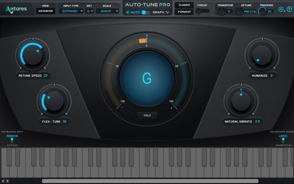 An image of Auto-Tune Pro's user interface.