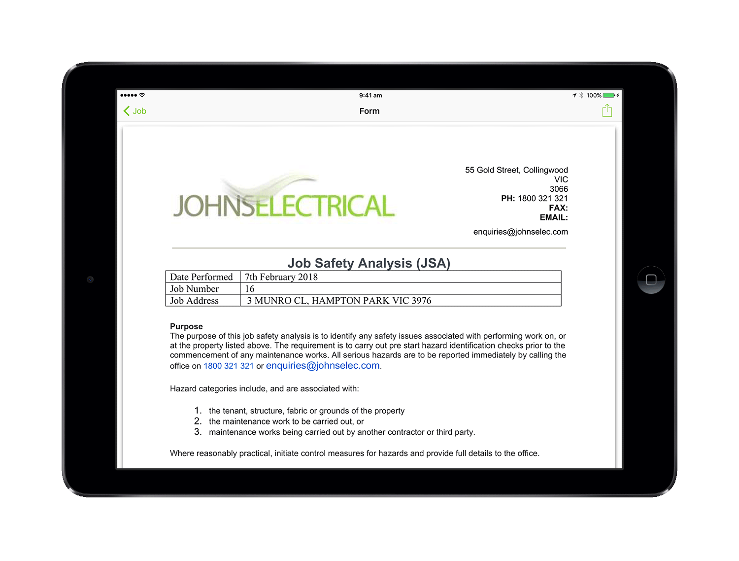 Electrician Job Safety Analysis