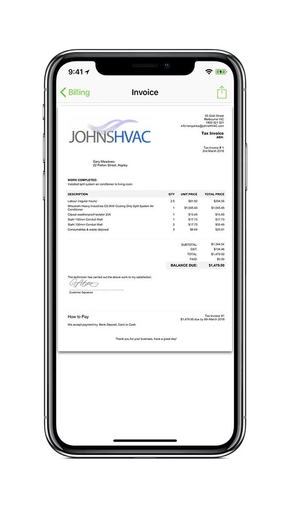 HVAC & Refrigeration Invoice