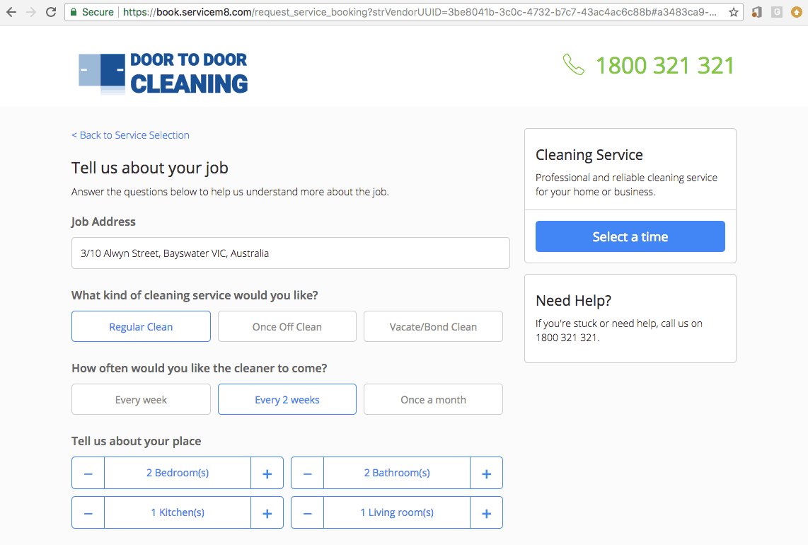 Online Cleaning Business Booking Software