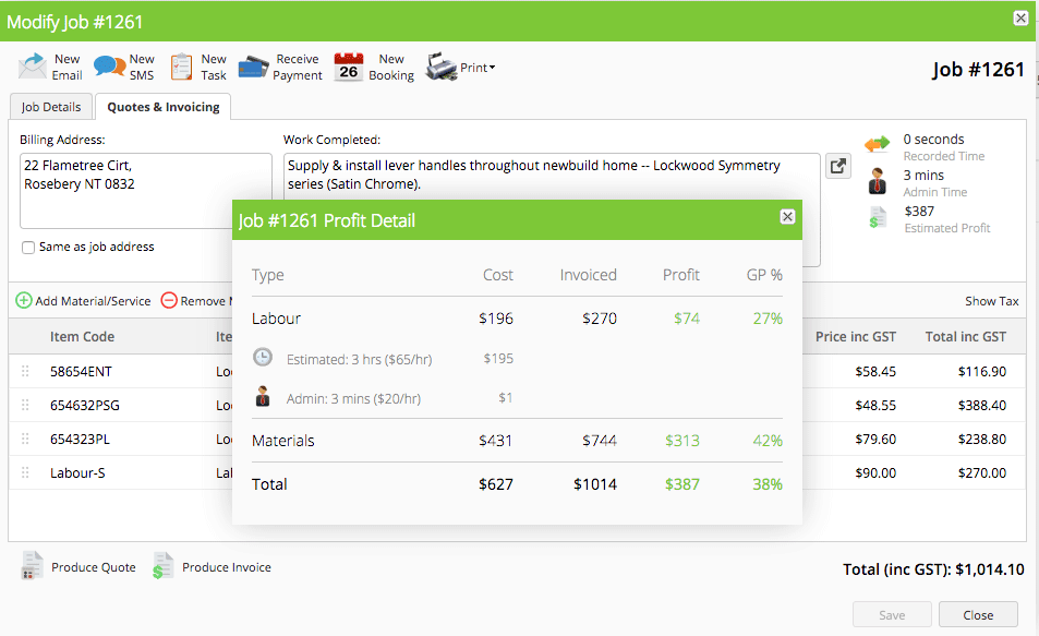 Locksmith Software - Job Costing