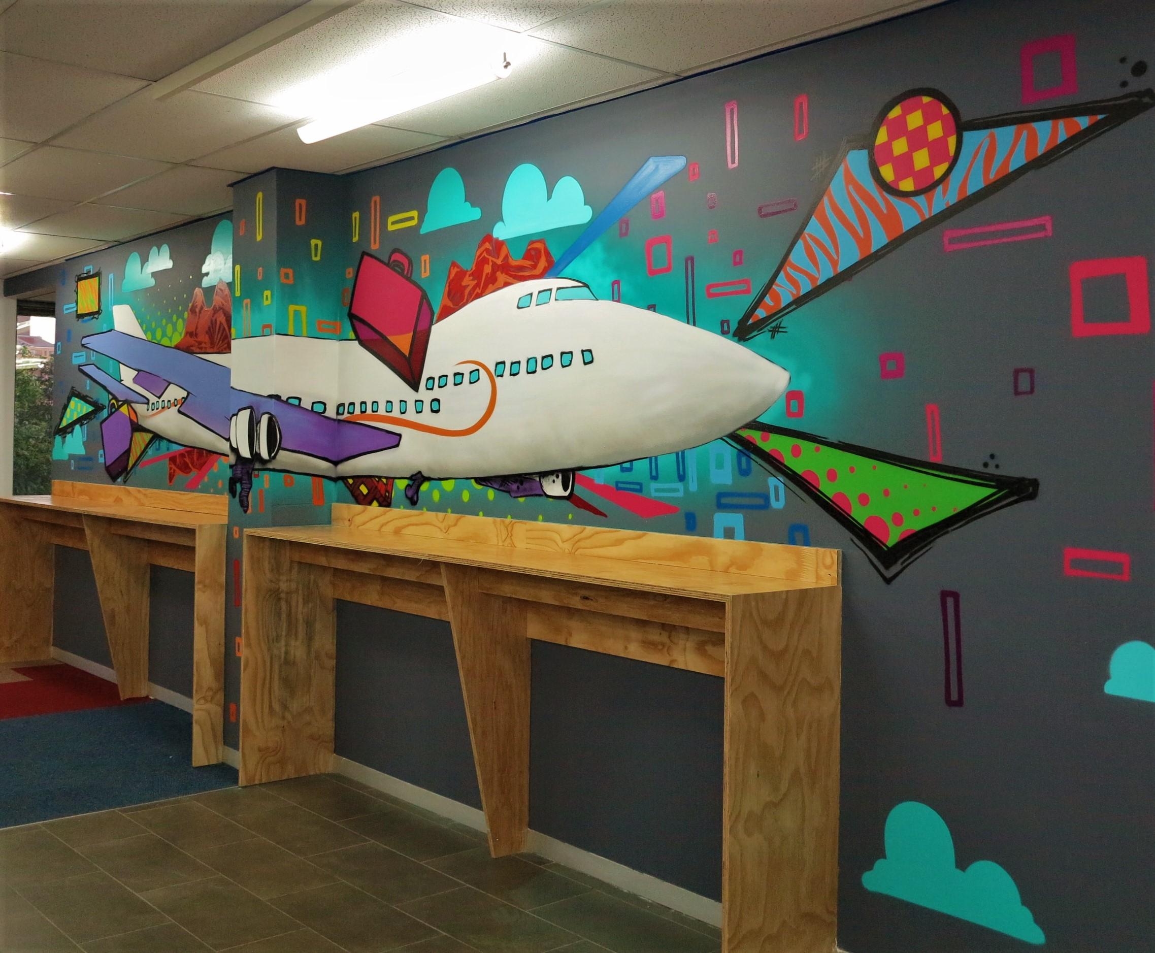 graffiti office mural for SAA call center canteen