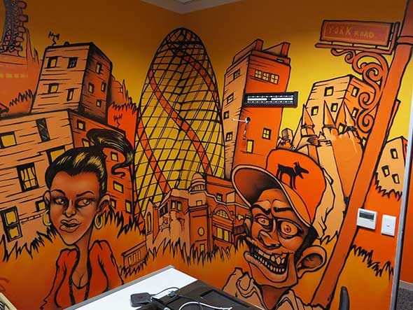 cartoon city skyline orange and black sweetooth graffiti artists south africa