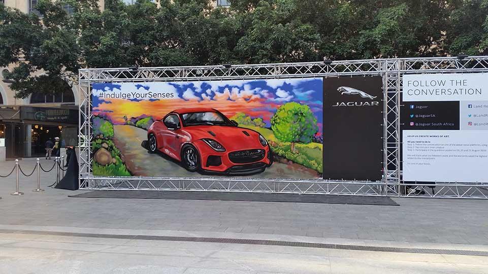 jaguar graffiti live painting at sandton square
