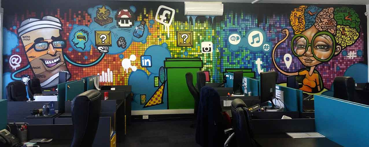 colourful mario bros inspired mural for search online consulting by sweetooth graffiti artists