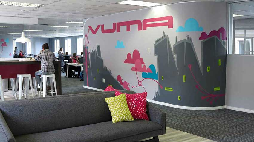 city skyline office mural painted for vumatel interior wall decor by sweetooth
