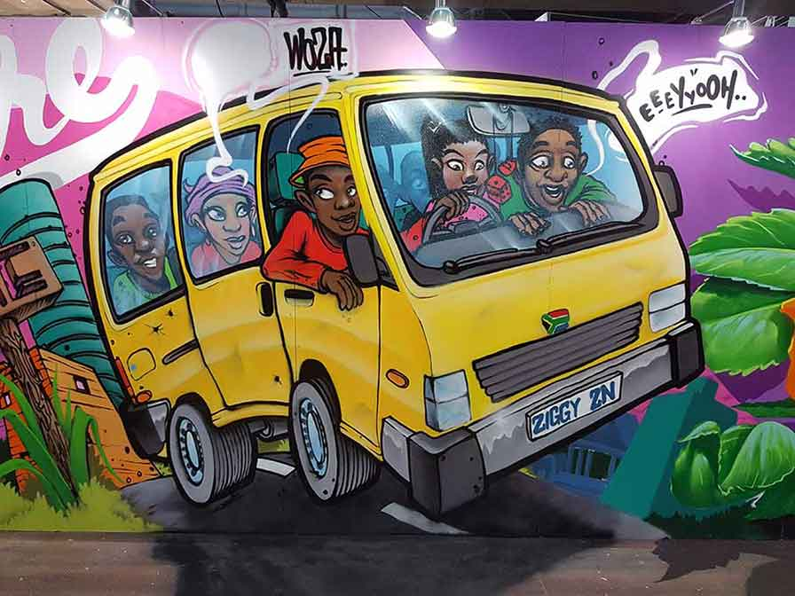 south african taxi graffiti mural painting for Home Makers Expo 2017 by graffiti artist zesta