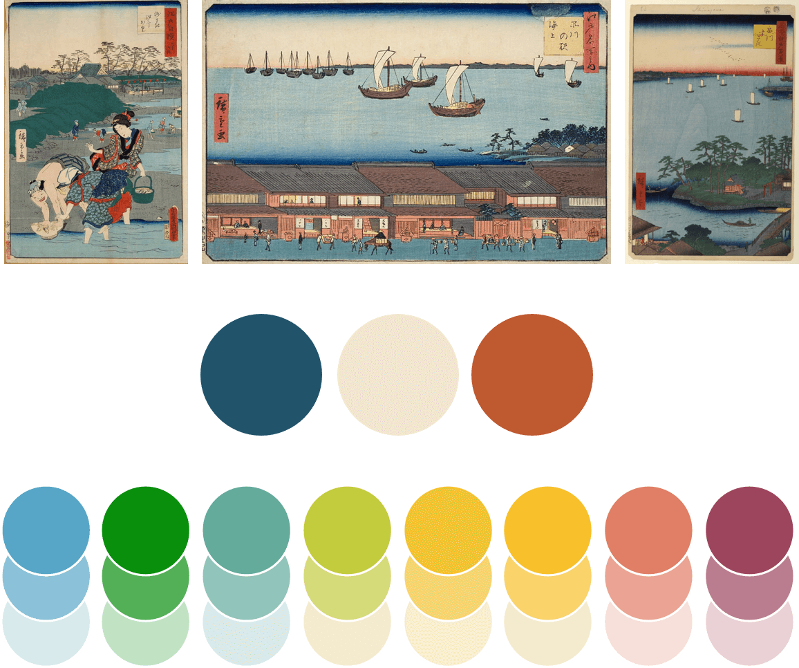 Three woodblock prints with circle color swatches below. The top three color swatches represent colors pulled directly from the prints.
