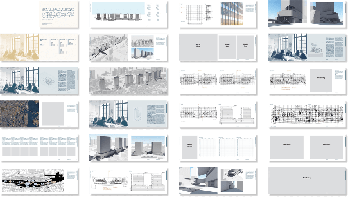 Grid of document spreads with various layouts and placeholder imagery.