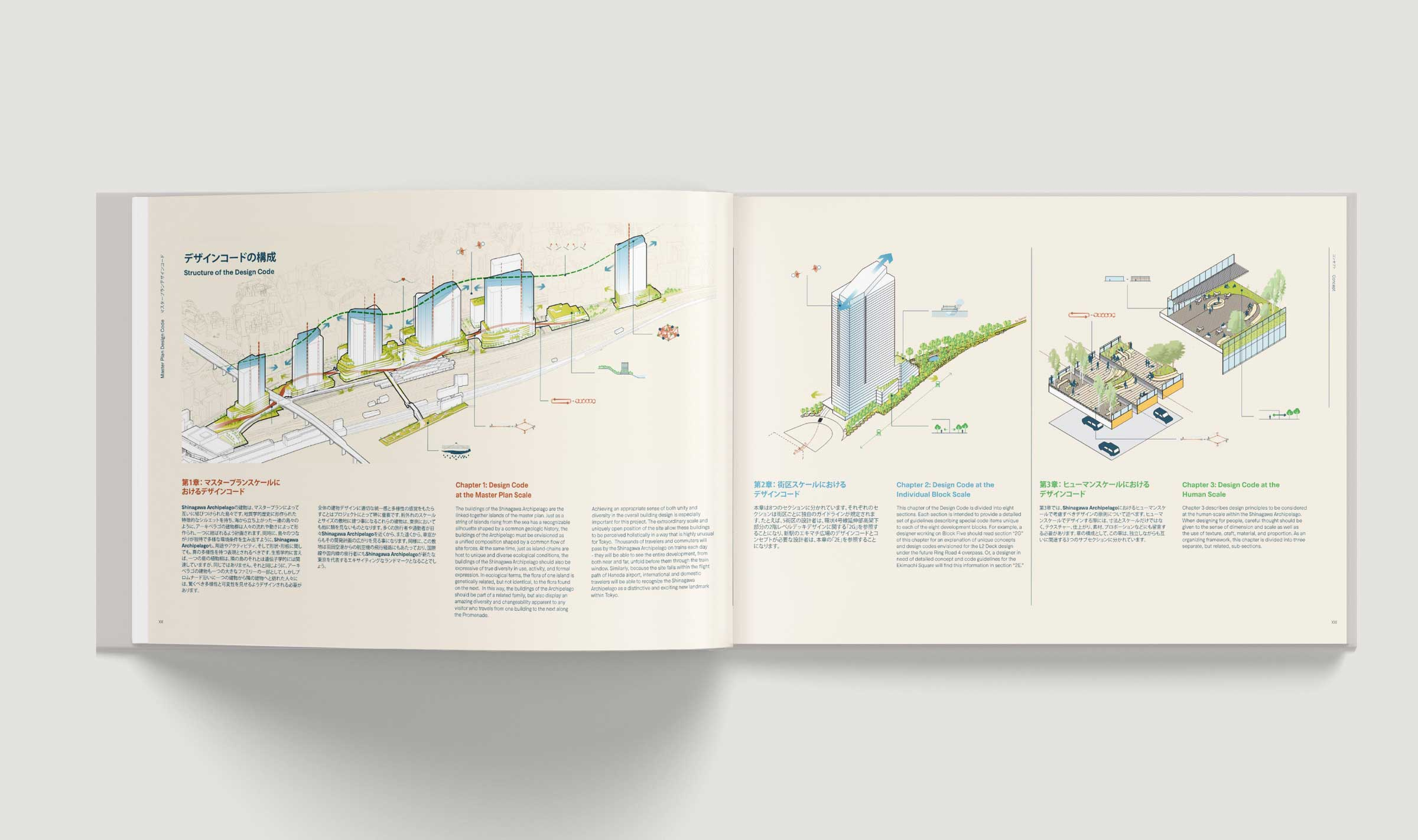 Open book showing a spread introducing each of the chapters. The left page shows an overall axonometric diagram of the master plan, and the right page shows a building axonometric with detail cutaway axonometric diagrams.