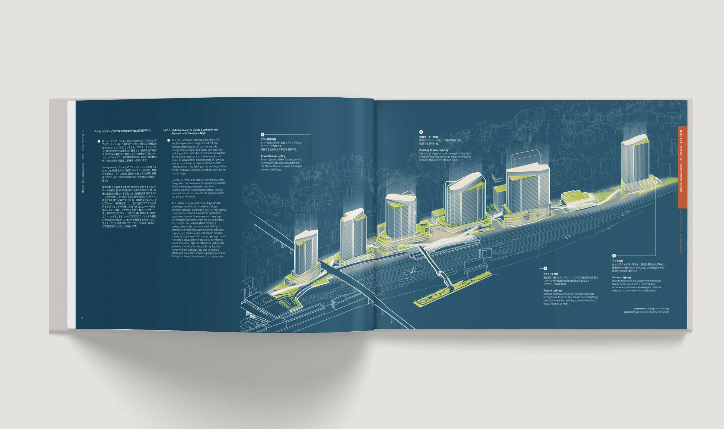 Open book showing a layout using the master plan axomometric to highlight lighting strategies for the master plan. The diagram uses white lines on a deep blue background.