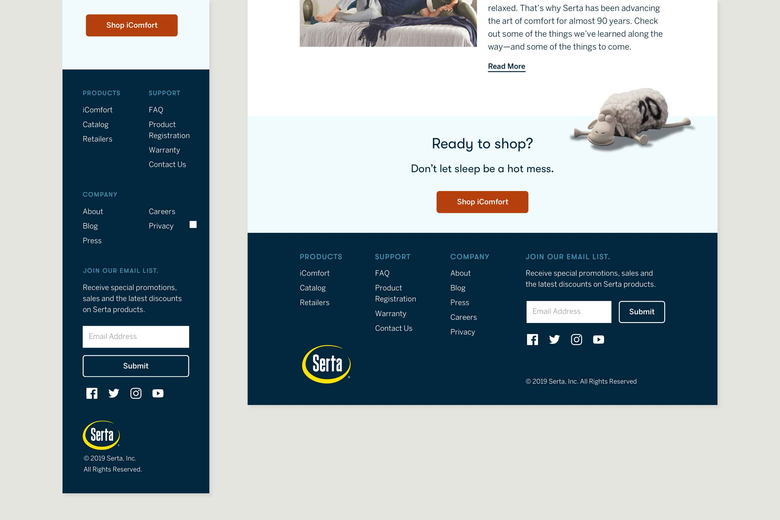 Mobile and desktop comp of final CTA and footer of the new Serta homepage.