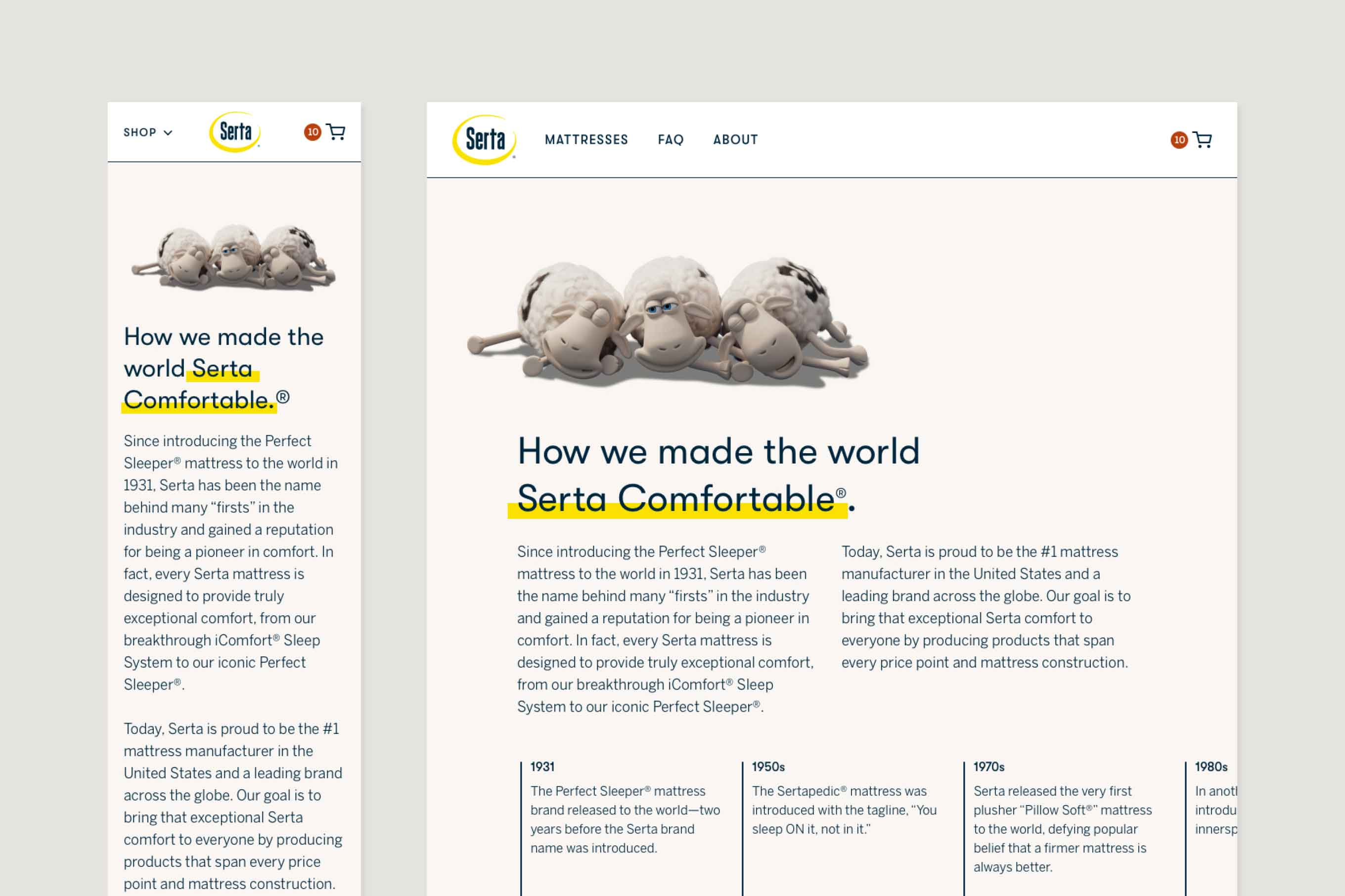 """Mobile and desktop comps showing the top of the new About Page. Three sheep lay above a headline that reads """"How we made the world Serta Comfortable."""""""
