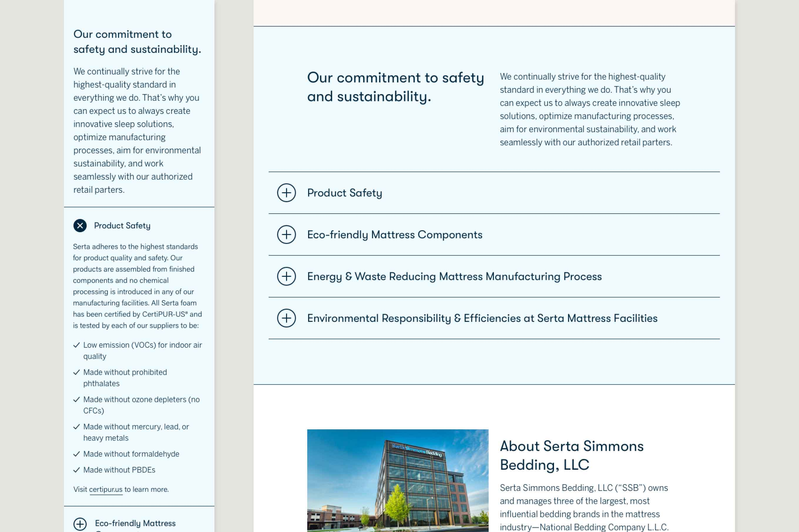 Mobile and desktop comps of the safety & sustainability section of the About page. The section has a blue background and four expandable accordion sections related to safety and sustainability topics.