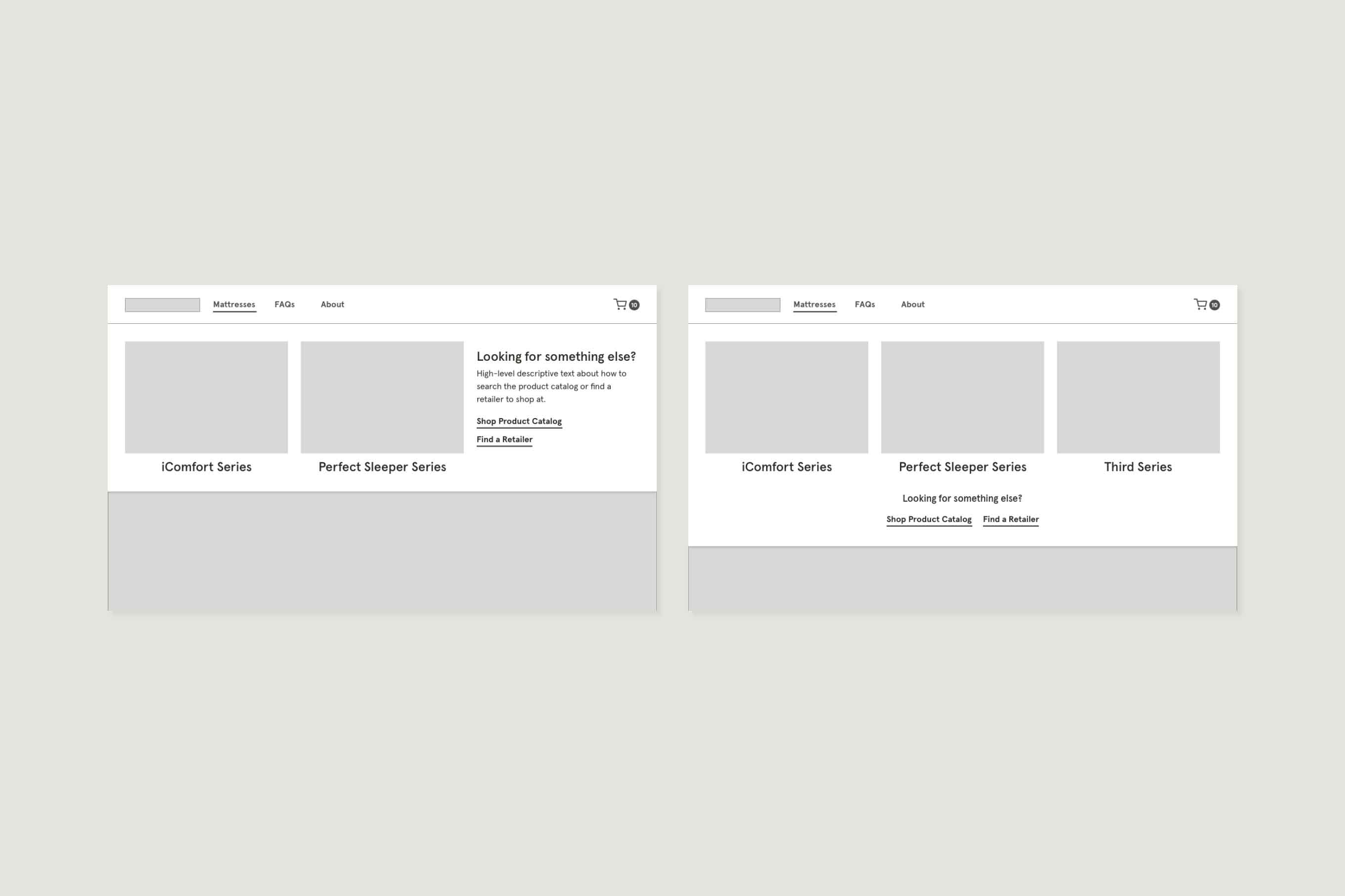 Two desktop wireframes of the navigation menu showing potential future states. In the first, two of the columns have an image with a label below, and the third column has descriptive text with two text links. In the second, all columns have an image with a label below it. Below the three columns, there is a section with two text links.