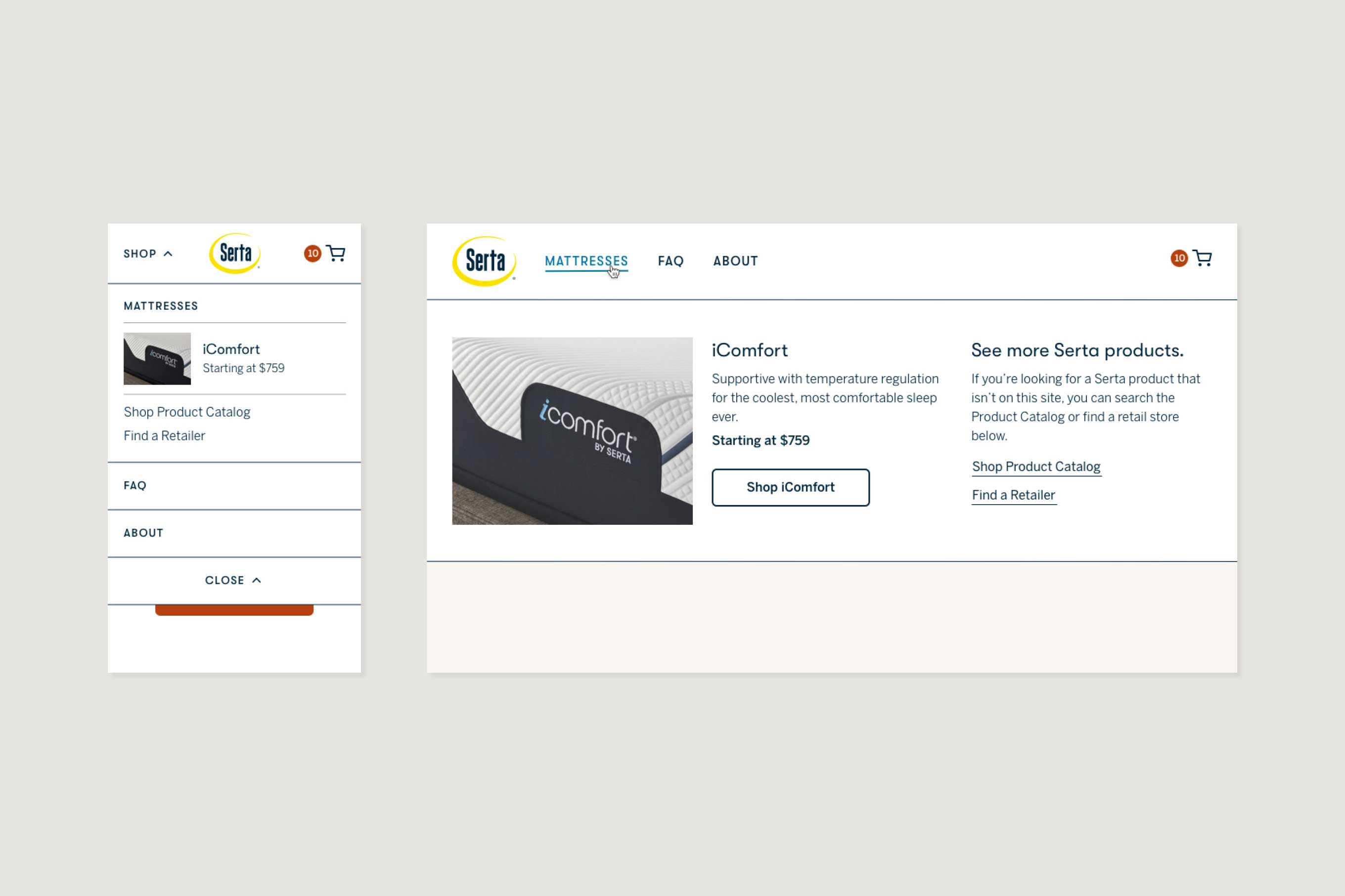 Mobile & desktop comps of the new Serta navigation menu. On mobile, elements are stacked vertically with the iComfort at the top of the stack. On desktop, the expanded navigation menu is divided into three columns, with two dedicated to the iComfort.