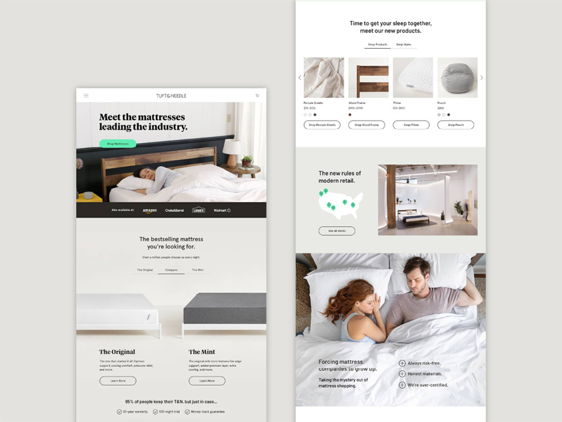 The new Tuft & Needle homepage with a variety of content modules telling the brand story.