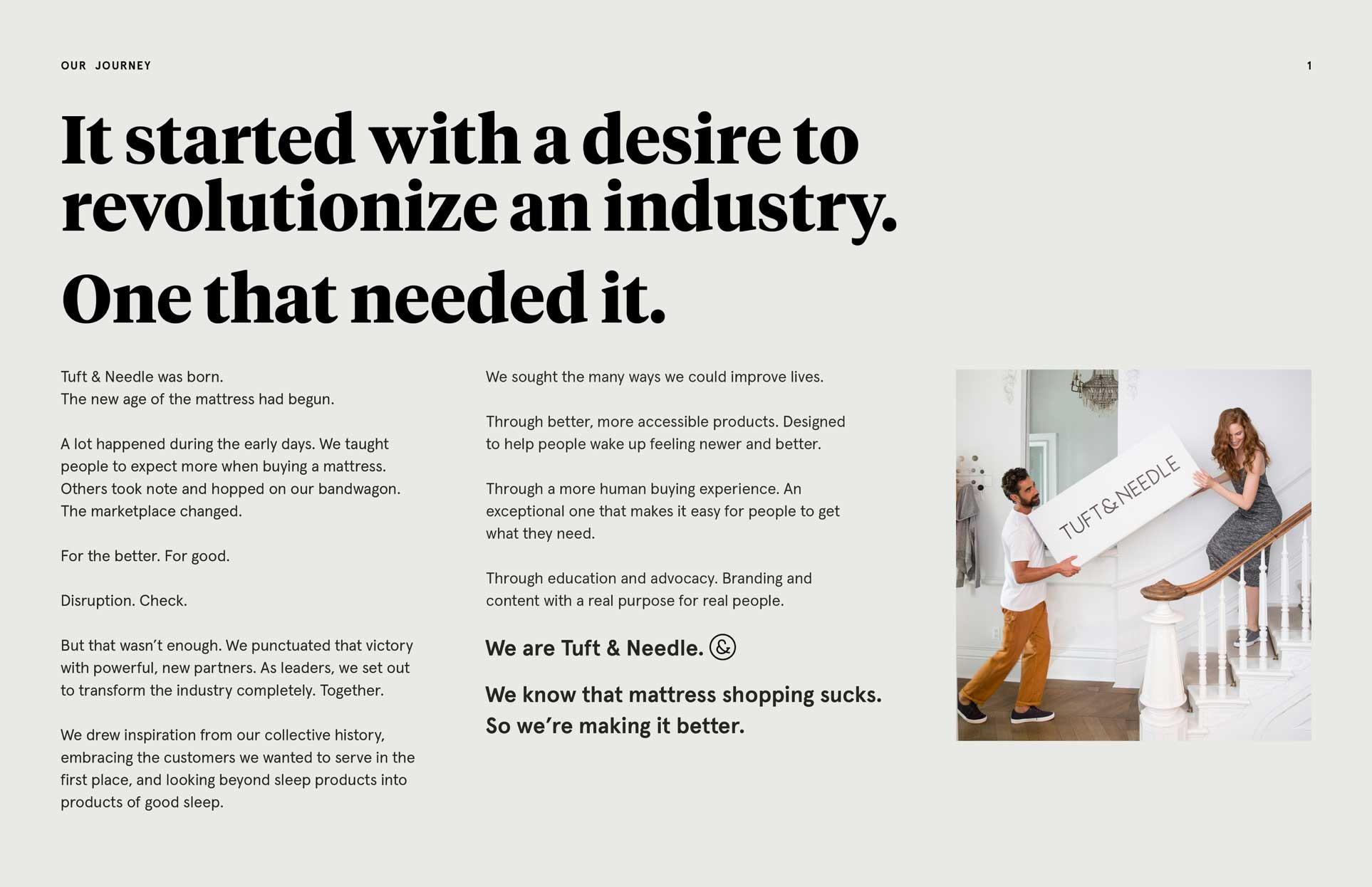 """Intro page to the Voice, Tone, & Style Guide with a headline that reads: """"It started with a desire to revolutionize an industry. One that needed it."""" It also has an image of a man and woman carrying a T&N box up a staircase."""