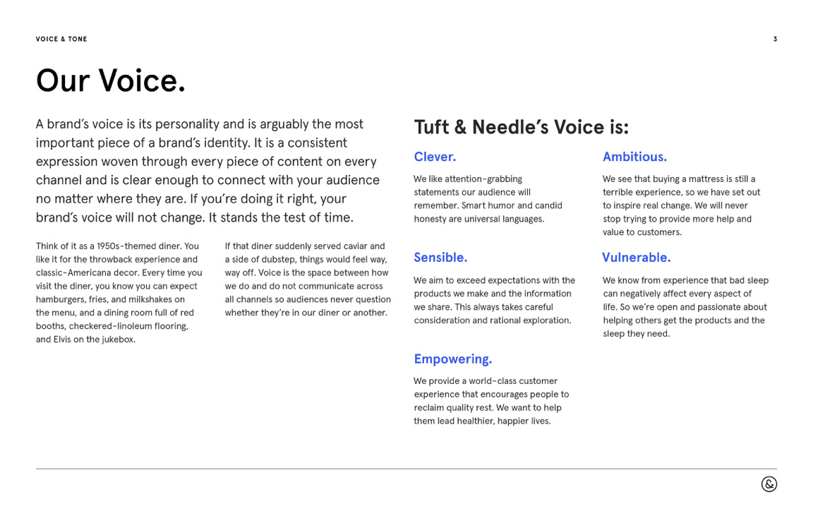 """A page from the Voice, Tone, & Style Guide with a headline that reads """"Our Voice."""" The left side of the page contains descriptive text, and the right side has a grid of adjectives describing T&N's voice. There is a small bit of descriptive text below each adjective."""