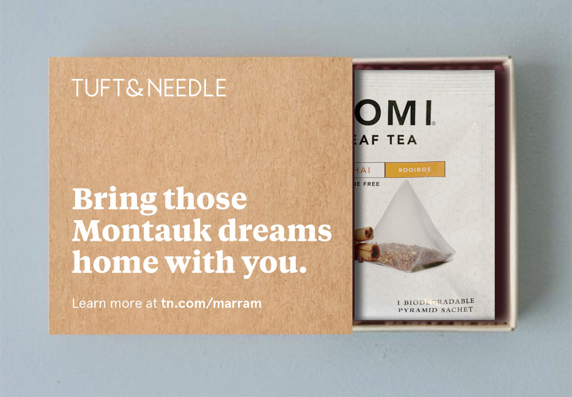 """A mockup of a Kraft matchbox slid open to reveal a Paromi Tea package inside. The box has a headline that reads """"Bring those Montauk dreams home with you."""""""