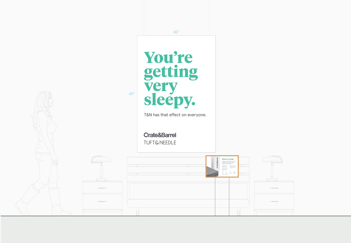 """Mockup drawing of a hanging sign over a bed with a headline that reads """"You're getting very sleepy."""""""