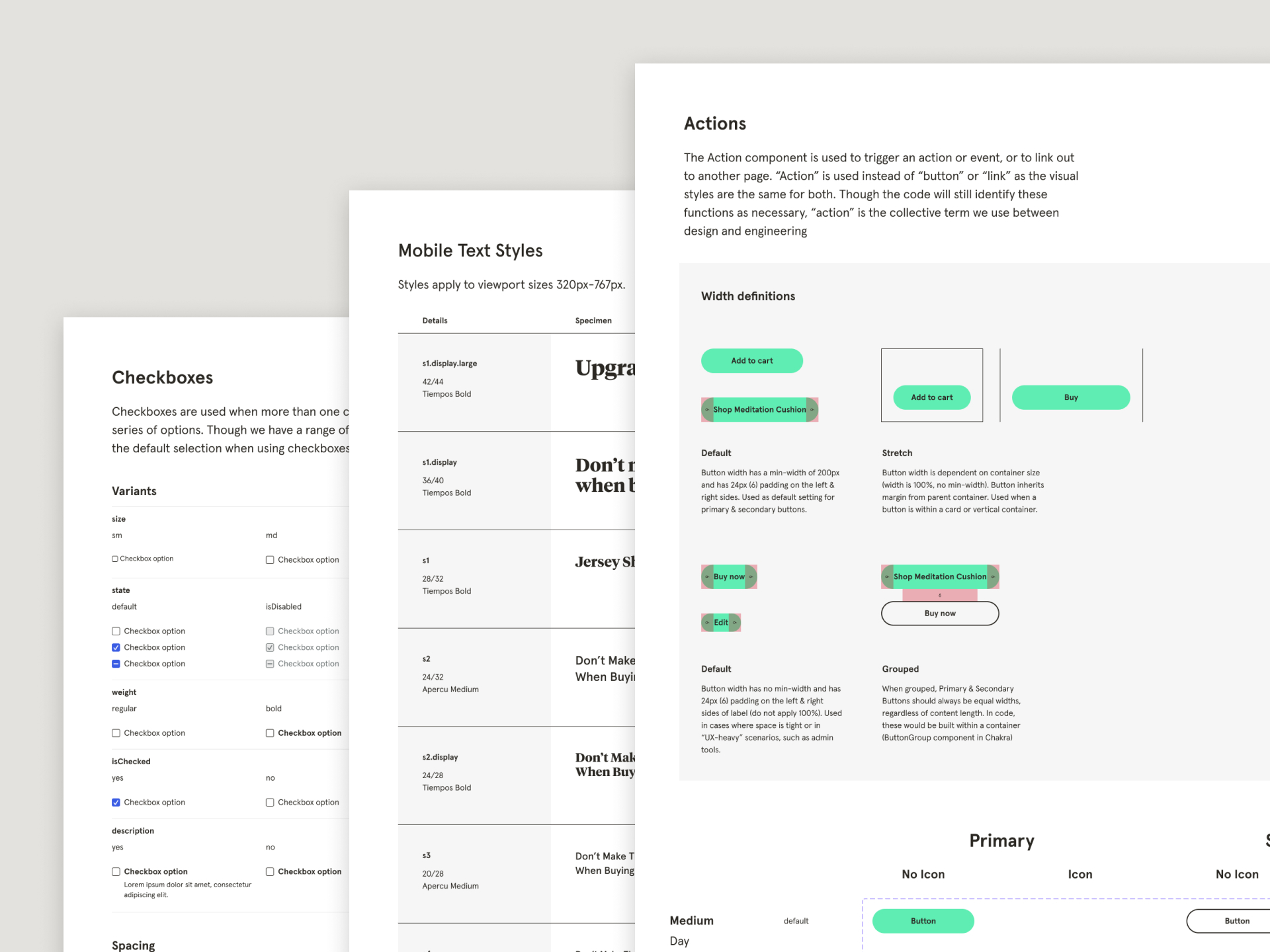 Three overlapping pages of Design System documentation.