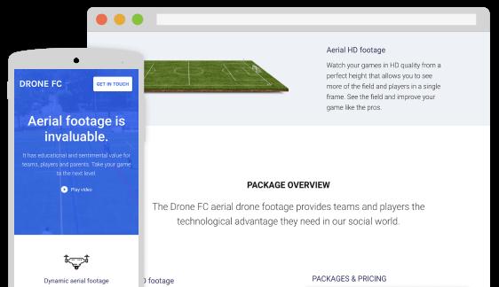 Drone FC Video - Mobile & Website UI