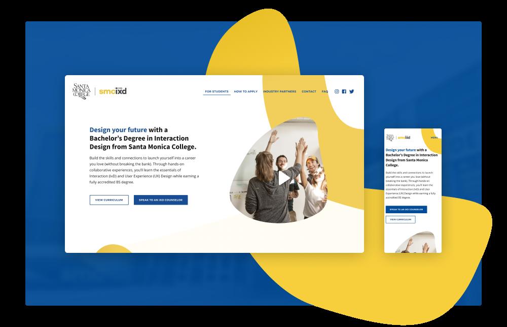 Website development project for Santa Monica College's Interaction Design Bachelor's degree program. Built with Webflow.